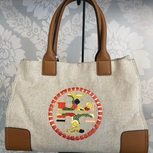 TORY BURCH Brown Leather Trim Natural Canvas Tote
